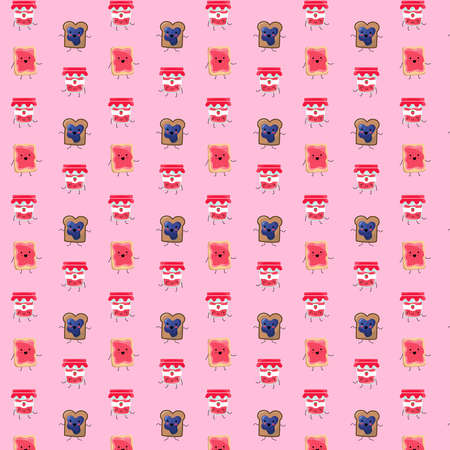 Pattern based on a kawaii illustration of a funny and yummy breakfast set dancing happily. There's a bottle of strawberry jam glass bottle and two toasts: one with strawberry and the other one with blueberry. They all have cute faces, legs and arms.
