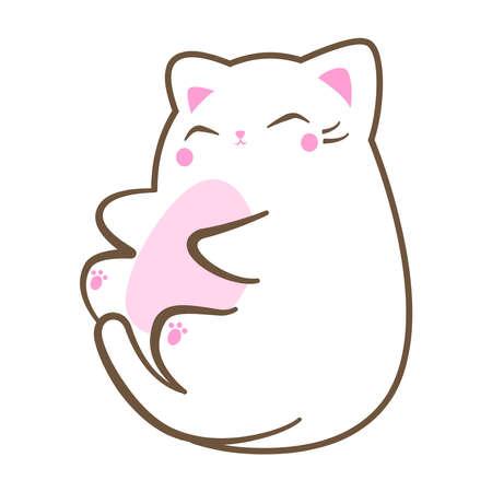 Kawaii cute white chubby fat cat enjoying