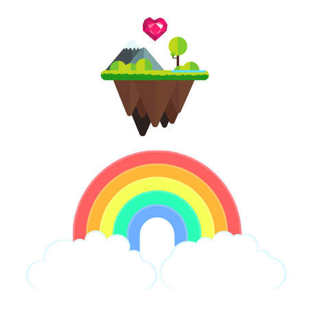 Illustration of a rainbow held by two clouds under a floating island full of green nature where a faceted pink heart is flying and shining love for everyone.  I want to share the pride and love message for every person, no matter whom they love, what they feel or how they are. We are all different, we are all the same. Love is love.