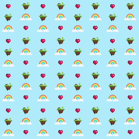 Pattern based on my illustration of a rainbow held by two clouds under a floating island full of green nature where a faceted pink heart is flying and shining love for everyone. Stock Photo
