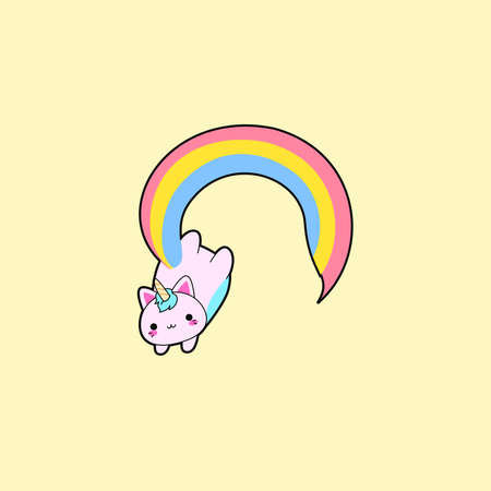 Illustration of a cute fat pink cat with a horn and a long rainbow tail. This kawaii hybrid between feline and unicorn is full of happiness and is try to distribute equal love for all. This cattycorn is really proud of what they are. Love is love. Love who you are. Always.