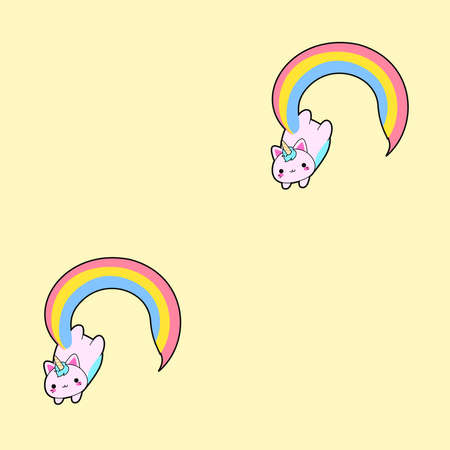 Pattern based on the illustration of a cute fat pink cat with a horn and a long rainbow tail. This kawaii hybrid between feline and unicorn is full of happiness and is try to distribute equal love for all. This cattycorn is really proud of what they are. Love is love. Love who you are. Always.