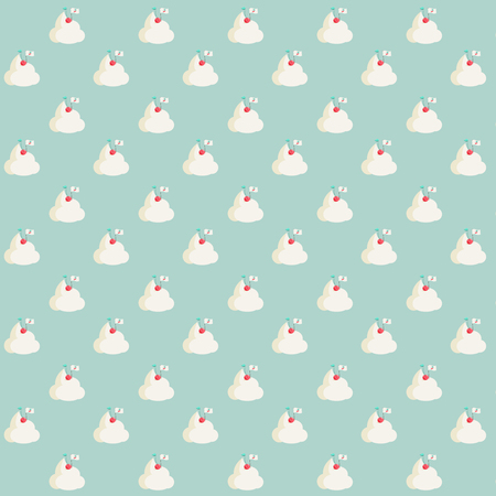 Pattern based on a kawaii Summer illustration of a cherry fruit placing a cherry flag on the top of a mountain made of sweet whipped cream. Background is candy light green. A real conquerer!