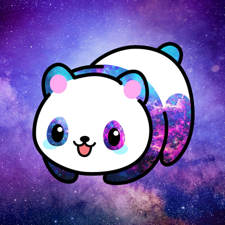 Kawaii illustration of a minimalist cute panda bear ruling the whole universe from space nebula. The whole picture is colored in tones pink, purple, lilac and blue. Stock fotó