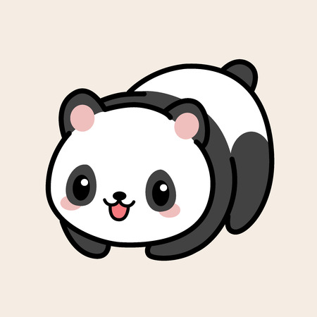Kawaii illustration of a minimalist cute panda over a light pastel background. Stock Photo