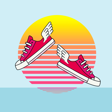 Illustration of some cute pink sneakers with little wings flying over a minimal beach with a beautiful sunset in yellow, orange and pink tones. Background is blue with a clear sky and calm sea.  This is kind of a dream I had last night and reminds my of my childhood.