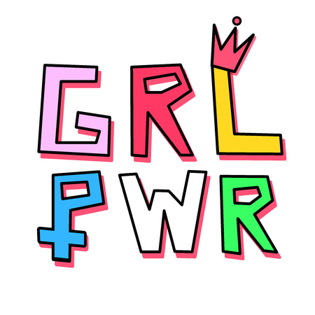 "Typography minimal illustration artwork of the emblem phrase ""girl power"" in rainbow colors with a little crown over the L letter and the women symbol on the P letter. Background is white."