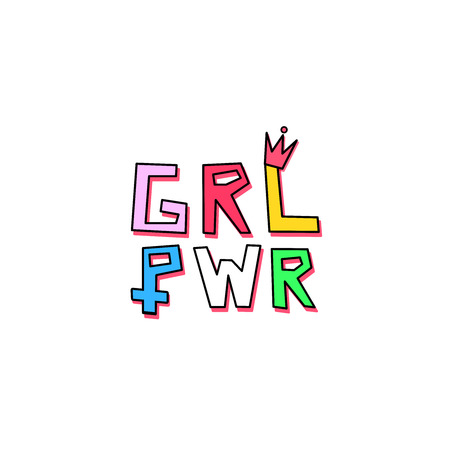 """Typography minimal illustration artwork of the emblem phrase """"girl power"""" in rainbow colors with a little crown over the L letter and the women symbol on the P letter. Background is white."""
