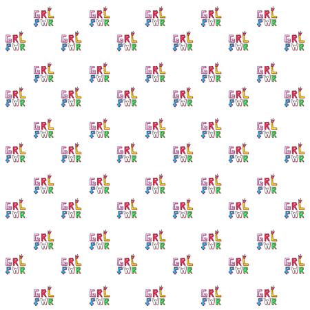 "Pattern based on a typography minimal illustration artwork of the emblem phrase ""girl power"" in rainbow colors with a little crown over the L letter and the women symbol on the P letter."
