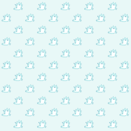 Pattern based of a kawaii illustration of a happy chubby kawaii cat made of ice enjoying his own melting. Sad and cute at the same time! Summer is almost over. But it's still very hot (at least in my country)  The whole illustration is in blue hues a slightly color degradation. Stock Photo