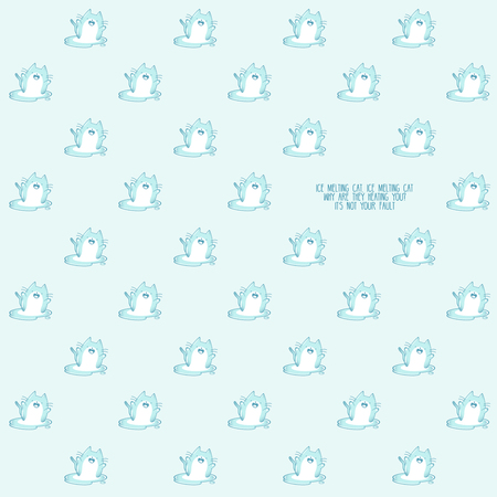 Pattern based of a kawaii illustration of a happy chubby kawaii cat made of ice enjoying his own melting. Sad and cute at the same time! Summer is almost over. But it's still very hot (at least in my country)  The whole illustration is in blue hues a slightly color degradation. Stok Fotoğraf