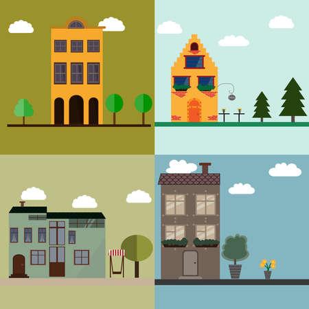 Four house flat illustration