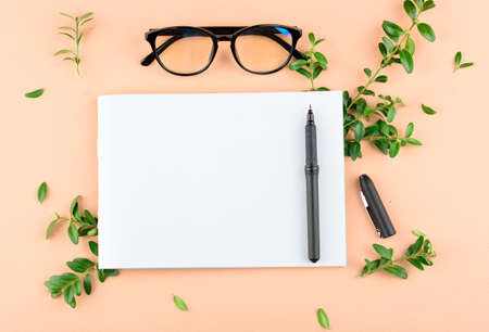Notepad with white sheets, black pen, black glasses on a colored background with leafs