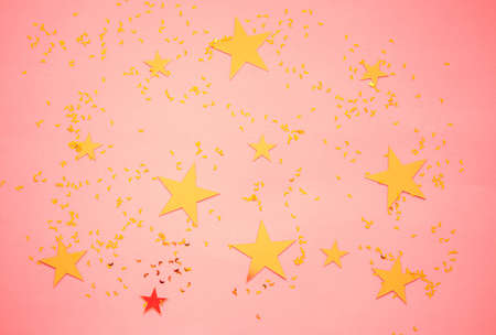 Beautiful background of various stars and sparkles, on colored background.