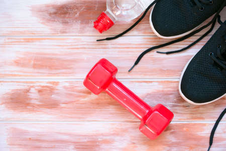 Sports Crafts, dumbbells, drinking water, apple. sport time