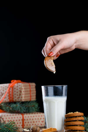 A glass of fresh molok with delicious homemade cookies. Christmas, holiday.