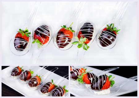 Chocolate covered strawberry dessert on a white plate. Restaurant menu