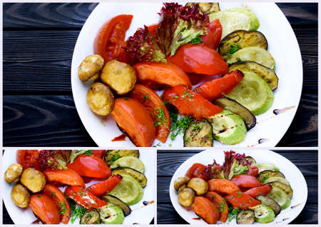 Collage of restaurant dishes. Tasty dishes for the restaurant. Stock fotó