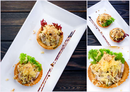 Collage of restaurant dishes. Tasty dishes for the restaurant. Food photo