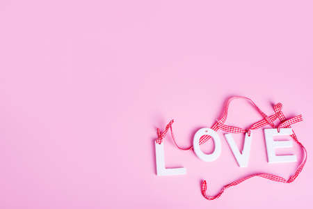 Happy Valentines Day. Pink Ribbon Heart on white background. Valentines Day concept Stock Photo