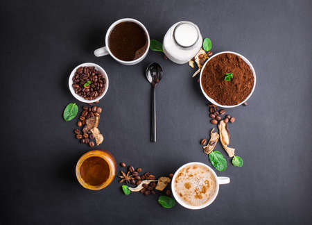 Mushroom Chaga Coffee Superfood Trend-dry and fresh mushrooms and coffee beans on dark background with mint. Coffee break