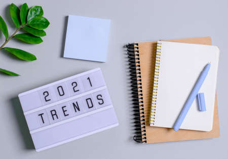 Trend concept 2021, light box with inscription, notebook records, pens, flower. A place for text.