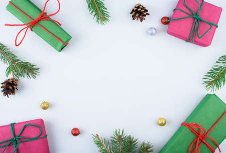 Christmas gift boxes collection with pine tree for mock up template design. View from above. Flat lay Standard-Bild