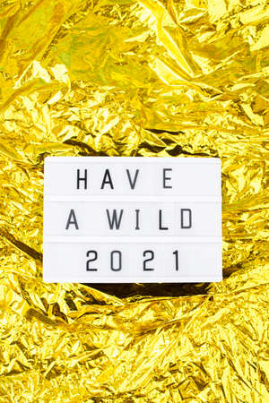 Light box with an inscription have a wild 2021 on a bright gold background.