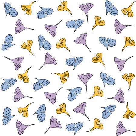 Ginkgo leaves seamless pattern, vector doodle illustration on white background. Simple and cute pattern for prints on textile, bed clothes, paper and fabrics
