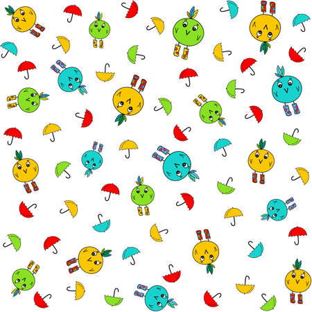 Birds and umbrellas bright illustrations. Seamless pattern isolated on white. Cartoonish drawing with cute characters