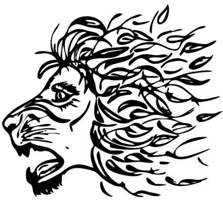 Autumn roaring lion black silhouette, vector emblem of lion head as part of logo or tattoo design