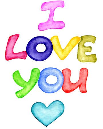 I love you watercolor lettering. Hand drawn colorful letters and heart symbol on white background. Childish lettering style