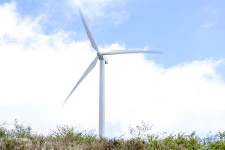 Detail of a wind turbine in the Monte Galletto wind farm in Bologna Italy. This wind farm is a touristic trail in Emilia Romagna