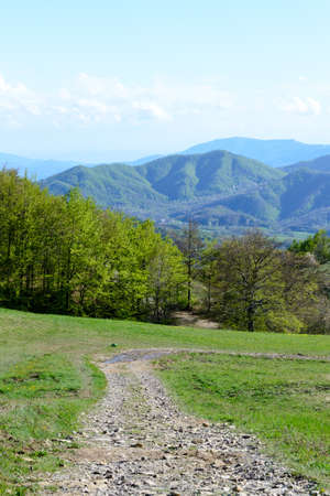 The hiking path of the Gods road or The Way of the Gods an ancient way in the Apennines mountains in Italy