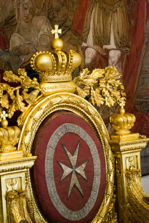 Saint Petersburg, Russia, august 2019. Interior detail of the Hermitage museum, a room with an old golden throne