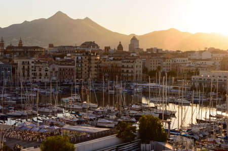 Palermo, Italy, july 2020. Nice aerial view of the waterfront at sunset time seen from the Loggiato of San Bartolomeo