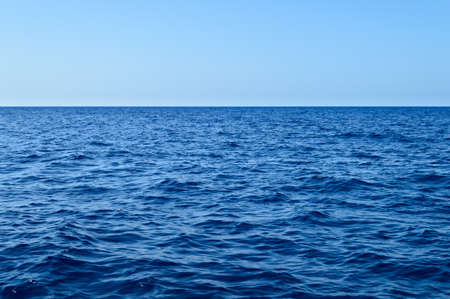 Blue ocean water and sky straight horizon line