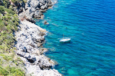 The rocky coast line of the Zingaro natural reserve in Sicily, Italy