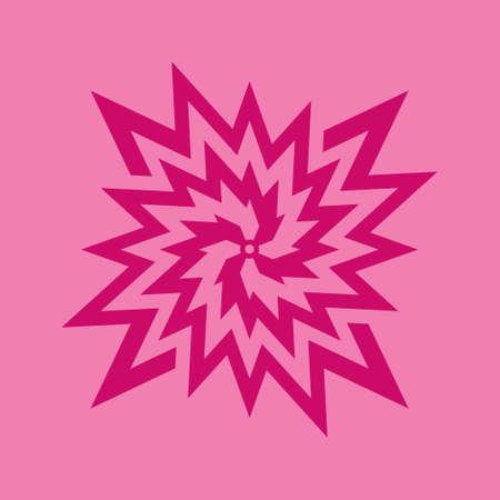 Fuchsia flower symbol on pink background