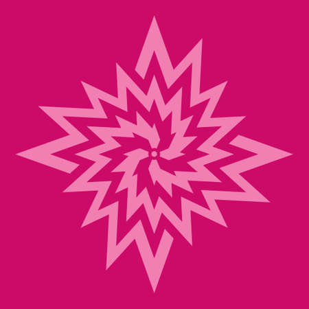 Pink flower symbol on fuchsia background