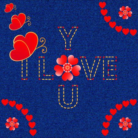 seem: I love you decorative denim background vector