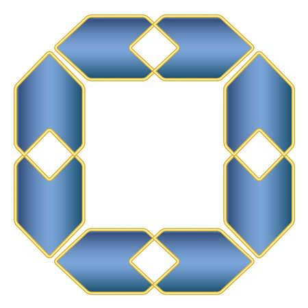 Vierkante blauwe elegante frame vector met goud decoratie