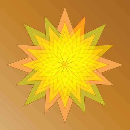 angular: Abstract mosaic flower star symbol on light brown background Illustration