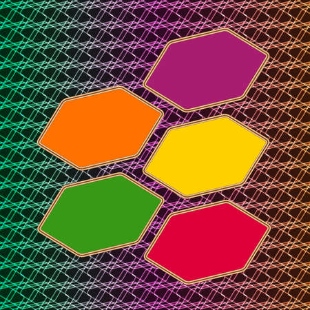 Five colorful frames vector design on glow background Vector