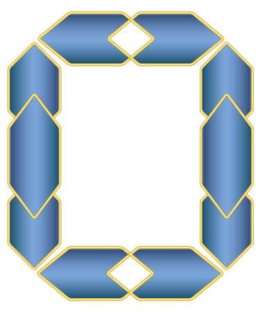 Blue elegant frame vector with gold decoration