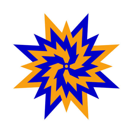 Abstract orange and blue flower star element