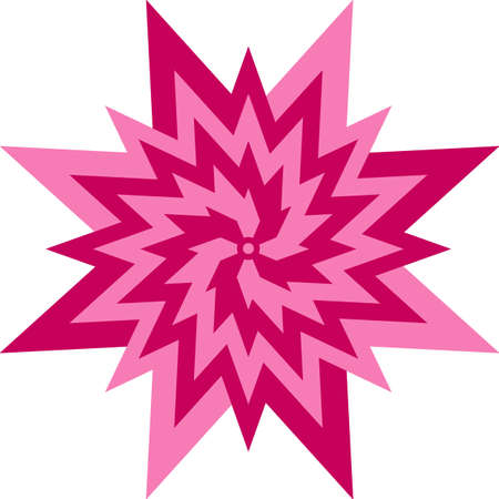 Abstract pink and magenta flower star symbol