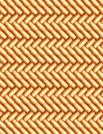 Abstract wicker background of gold color with straw effect Vector
