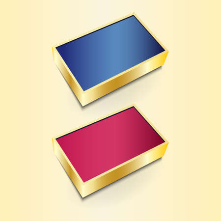 Modern 3D icons with golden frame vector