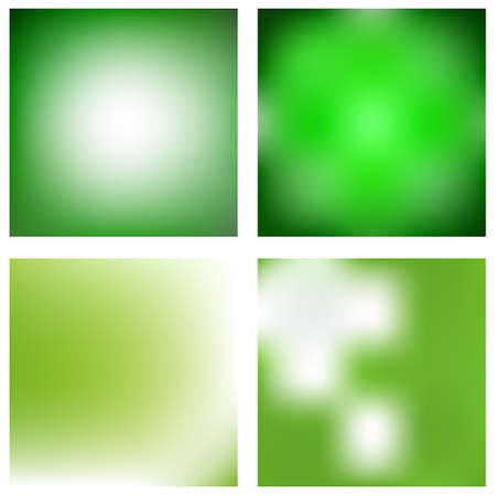 Set of abstract green blurred vector backgrounds
